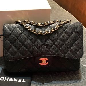 Rare vintage chanel jumbo single flap 24k GP HW